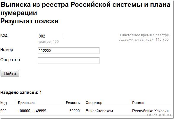 Результат поиска по телефонному коду города