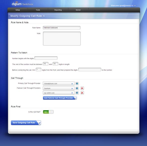 Switchvox Admin Panel