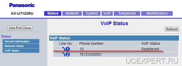 Рис. Web-интерфейсPanasonic KX-UT 113 / 123. VoIP status