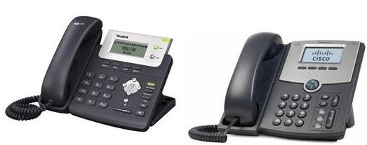 IP-телефоны Yealink SIP-T20(P) и Cisco SPA502G (слева направо)