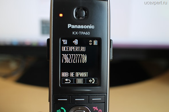 Рис. Пропущенный вызов на экране Panasonic KX-TPA60