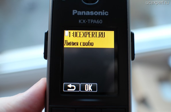 Рис. SIP-линия UCEXPERT.RU свобдодна. Экран Panasonic KX-TPA60