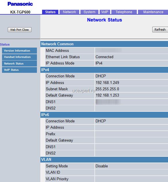 "Рис. Меню ""Network Status"". Panasonic KX-TGP600."